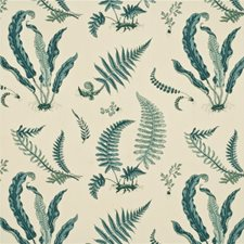 Aqua Print Drapery and Upholstery Fabric by G P & J Baker