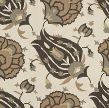 Onyx/Vicuna/Aqua Ethnic Drapery and Upholstery Fabric by G P & J Baker