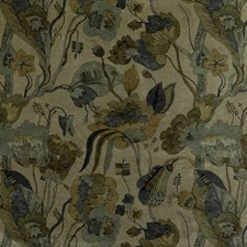 Denim/Mole Botanical Drapery and Upholstery Fabric by G P & J Baker