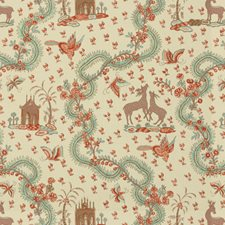 Turquoise Print Drapery and Upholstery Fabric by Brunschwig & Fils
