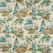 Seafoam/Sand Asian Drapery and Upholstery Fabric by Brunschwig & Fils