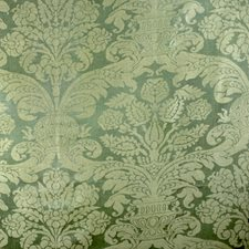 Sorrento Green Damask Drapery and Upholstery Fabric by Brunschwig & Fils
