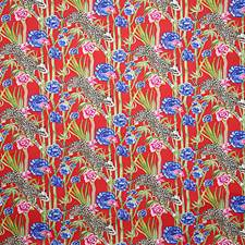 Red Print Drapery and Upholstery Fabric by Pindler