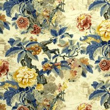 Chinese Lantern-Yellow Print Drapery and Upholstery Fabric by Lee Jofa