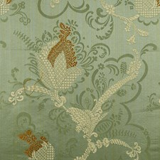 Gold/Linen On Jade Drapery and Upholstery Fabric by Scalamandre