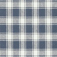 Navy Plaid Drapery and Upholstery Fabric by Duralee