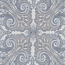 Natural/Blue Paisley Drapery and Upholstery Fabric by Duralee