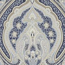 Blue Paisley Drapery and Upholstery Fabric by Duralee