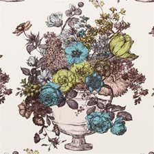 Aqua Floral Stylized Drapery and Upholstery Fabric by Clarke & Clarke