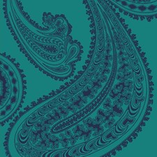 Ink On Petrol Paisley Drapery and Upholstery Fabric by Cole & Son