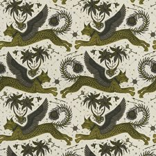 Gold Animal Drapery and Upholstery Fabric by Clarke & Clarke
