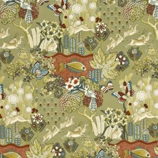 Red/Blue Animal Drapery and Upholstery Fabric by Mulberry Home
