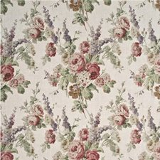 Rose/Green Botanical Drapery and Upholstery Fabric by Mulberry Home