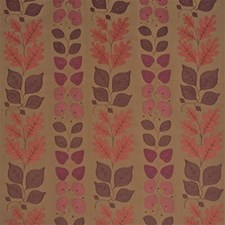 Red/Bro Botanical Drapery and Upholstery Fabric by Mulberry Home