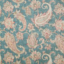 Teal Traditional Drapery and Upholstery Fabric by Pindler