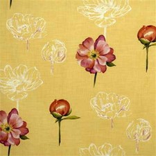 Yellow Print Drapery and Upholstery Fabric by Groundworks