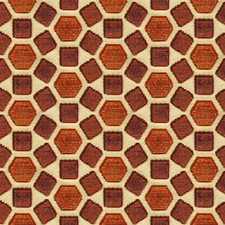 Red Geometric Drapery and Upholstery Fabric by Groundworks