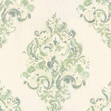 Aqua Damask Drapery and Upholstery Fabric by Groundworks
