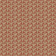 Beige/Red Geometric Drapery and Upholstery Fabric by Groundworks
