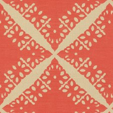 Coral Geometric Drapery and Upholstery Fabric by Groundworks