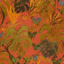 Red/Green Print Drapery and Upholstery Fabric by Groundworks