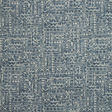 White/Blue Ethnic Drapery and Upholstery Fabric by Kravet