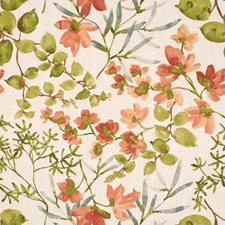 White/Green/Orange Botanical Drapery and Upholstery Fabric by Kravet