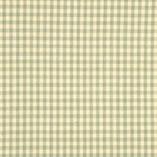Pale Aqua Gingham Drapery and Upholstery Fabric by Baker Lifestyle
