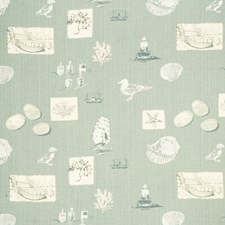 Pale Aqua Animal Drapery and Upholstery Fabric by Baker Lifestyle