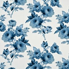 Mid Blue Print Drapery and Upholstery Fabric by Baker Lifestyle