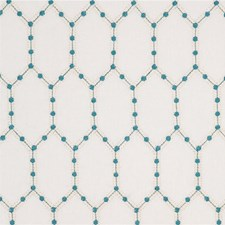 Aqua Embroidery Drapery and Upholstery Fabric by Baker Lifestyle
