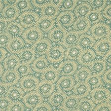 Aqua Botanical Drapery and Upholstery Fabric by Baker Lifestyle