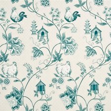 Aqua Toile Drapery and Upholstery Fabric by Baker Lifestyle