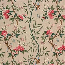 Aqua/Mauve Botanical Drapery and Upholstery Fabric by G P & J Baker