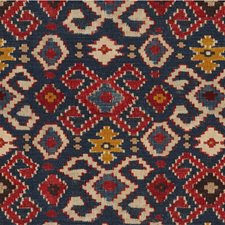 Blue/Burgundy/Red Ikat Drapery and Upholstery Fabric by Kravet