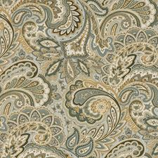 Beige/Teal/Brown Paisley Drapery and Upholstery Fabric by Kravet