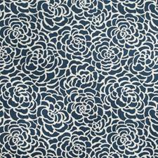 Indigo/White Botanical Drapery and Upholstery Fabric by Kravet