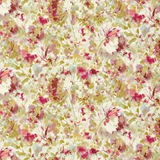 White/Fuschia/Green Botanical Drapery and Upholstery Fabric by Kravet