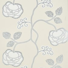 Silver White Wallcovering by Schumacher Wallpaper