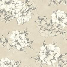 Cream/Beige/Lead Gray Floral Medium Wallcovering by York