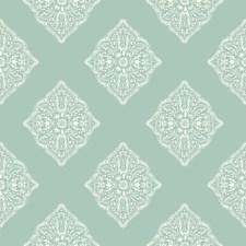 Aqua/White Geometrics Wallcovering by York
