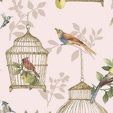 Songbirds On Rose Wallcovering by Scalamandre Wallpaper