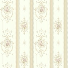 Pearlescent White/Tan/Lilac Floral Mini Wallcovering by York