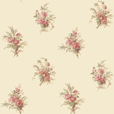 Off White/Coral/Tan Floral Wallcovering by York