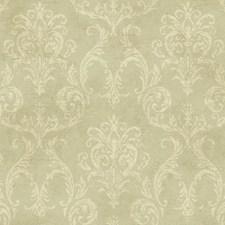 Pale Grey/Green/Cream Damask Wallcovering by York
