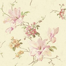 Pearl/Lilac/Pink Floral Medium Wallcovering by York