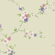 Beige/Coral/White Botanical Wallcovering by York