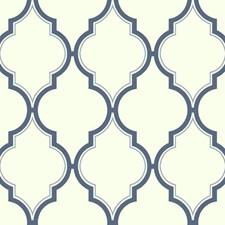 White/Deep Blue Trellis Wallcovering by York