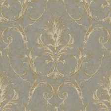 Stormy Gray/Steel Gray/Gleaming Gold Damask Wallcovering by York
