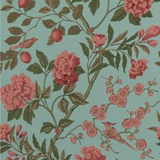 Teal Botanical Wallcovering by G P & J Baker